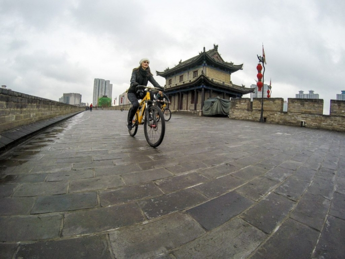 Riding Bicycle on Xian City Wall